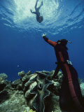 A Diver on the Sea Floor Gestures to Another Diver Who is Descending Photographic Print by Bill Curtsinger