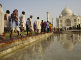 A Line of Pilgrims Visiting the The Taj Mahal Photographic Print