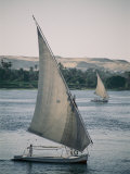 Twin Feluccas Move in Unison on the Nile Near Luxor Photographic Print by Stephen St. John