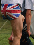 An English Athlete Shows off His Patriotic Underwear Fotografie-Druck von Annie Griffiths Belt