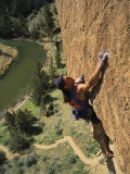 Climber on Smith Rock Above the Crooked River Photographic Print by Mark Cosslett