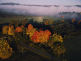 Fog hangs over trees decorated with autumn colors in a West Virginia valley, Giclee Print, National Geographic