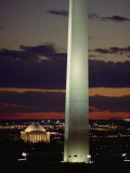 Twilight View of the Washington Monument and Jefferson Memorial Photographic Print by Richard Nowitz