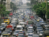 A Huge Traffic Jam Backs up the Streets of Bangkok Photographic Print by Jodi Cobb