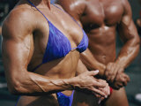 Body Builders, Both Male and Female, Gather for a 2-Day Competition on the Beach in Venice Photographic Print by Jodi Cobb