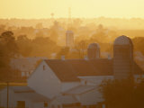 Golden Twilight Upon the Silos and Farm Houses of New Hollands Amish Community Photographic Print by Michael S. Lewis