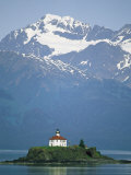 The Chilkat Range Looms Above the Eldred Rock Lighthouse Photographic Print