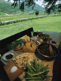 Table Spread with a Typical Umbrian Feast of Bread and Lamb Innards Fotografisk tryk af O. Louis Mazzatenta