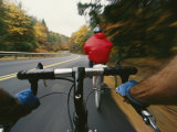 View over the Handlebars of a Bicycle Speeding along a Vermont Road Photographic Print by Skip Brown