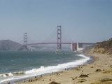 Surf Breaks Near the Golden Gate Bridge Photographic Print by Willard Culver