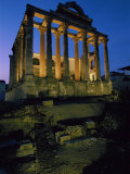 View of the Roman Temple of Diana Illuminated at Dusk Photographic Print by James L. Stanfield
