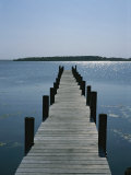 View on a Clear Summer Day of a Dock Extending Out into a Bay Photographic Print by Taylor S. Kennedy