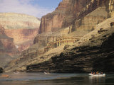 The Walls of the Grand Canyon Dwarf Inflatable Rafts on the River Photographic Print by David Edwards