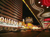 View of Downtown Las Vegas at Night Photographic Print by Walter Meayers Edwards