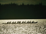 Lummi Indians Paddle a Large Canoe Photographic Print by Lowell Georgia