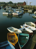 Skiffs Tied up at a Dock in the Inner Harbor at Rockport Photographic Print by Tim Laman