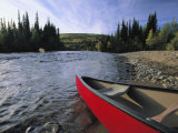 Bow of Canoe Preparing to Launch into the Chatanika River Photographic Print by Michael Melford