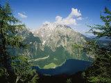 Watzmann Massif and Konigssee Lake, Berchtesgaden National Park Fotografisk tryk af Norbert Rosing