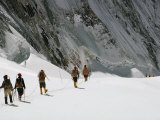 Roped Together, Mount Everest Expedition Members Trek Across a Snowfield Photographic Print by Barry Bishop