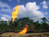 Flames from Oil Drilling Pipes Photographic Print by Steve Winter
