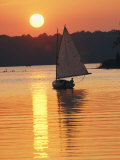 Sailboat and Sunset, South River, Maryland Photographic Print by Skip Brown