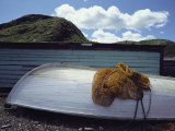 Fishing Net Atop Overturned Fishing Boat, Newfoundland Island Photographic Print by Medford Taylor