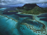 Reefs Ring a Pacific Island and Clouds Hide its Mountain Top Photographic Print by Tim Laman