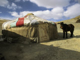 A Yurt with a Colorful Roof in Bayan Olgiy, Mongolia Photographic Print by Ed George