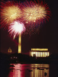 July 4th Fireworks over Washington Landmarks and the Potomac River Photographic Print by Medford Taylor
