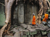Angkor Wat Temple with Monks, Siem Reap, Cambodia Photographic Print by Steve Raymer