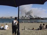 Onlookers Watch Smoke Billowing over Manhattan, September 11, 2001 Photographic Print by Steve Winter