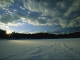 Sunset viewed from the frozen surface of Walden Pond Giclee Print