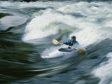 Whitewater Kayaker Surfing Standing Wave, Lochsa River, Idaho Photographic Print by Skip Brown