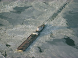 Tugboat Pushing Barge Through Winter Ice on the Chesapeake Bay Photographic Print by Skip Brown