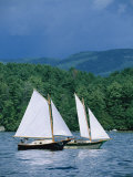 Sailboats and Darkening Sky, Lake Champlain, New York Photographic Print by Skip Brown