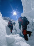 Climbers Ascend the Khumbu Icefall Photographic Print by Bobby Model