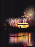 July 4th Fireworks over the Lincoln Memorial and Potomac River Photographic Print by Medford Taylor