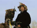 A Mongolian Eagle Hunter in Kazakhstan Photographic Print by Ed George