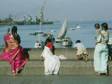 Indian People Look out over the Harbor in Bombay Photographic Print by Robert Sisson