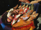 Brightly Colored Shoes in the Moroccan Souk Photographic Print by Heather Perry