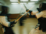 Demonstration of a Style of Kendo Called Budokan Haga Dojo Photographic Print by Michael S. Yamashita
