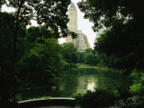 A View of a Pond and Lush Foliage in Central Park; the Pond is in the Southeast Corner of the Park Photographic Print by Melissa Farlow