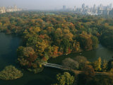 Aerial View of Central Park and the Manhattan Skyline in the Fall Photographic Print by Melissa Farlow