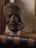 Death Mask of Sir Isaac Newton Beside Original Hand-Written Copy of His Masterpiece the Principia Photographic Print by Jim Sugar