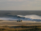 Wind, Waves and Fisherman in an Suv on a Beach in the Outer Banks Fotografiskt tryck av Skip Brown