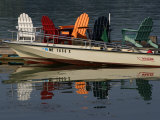 Peaceful Reflections of Colorful Chairs in the Waters of Casco Bay Photographic Print by Stephen St. John