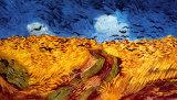 荒れもようの空に烏の群れ飛ぶ麦畑 高画質プリント : フィンセント・ファン・ゴッホ