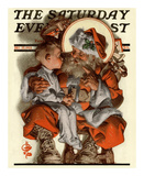Santa&#39;s Lap, c.1923 Art by Joseph Christian Leyendecker