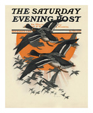 Ducks in Flight, c.1921 Art by Charles Livingston Bull
