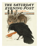 Crow and Rabbits, c.1916 Prints by Charles Livingston Bull